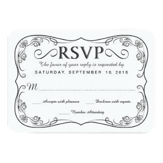 Rustic Black Burlap RSVP Wedding Reply Cards