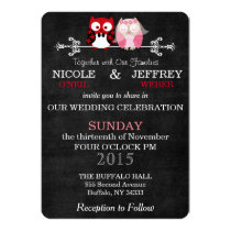 Rustic Black Chalkboard Owl Bride Groom Wedding Card