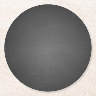 Rustic Black Chalkboard Printed Round Paper Coaster