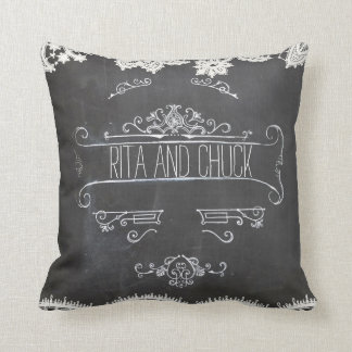 Rustic Black Chalkboard Vintage Lace Pillow