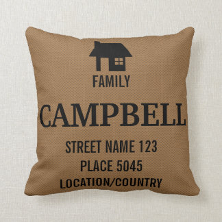 Rustic Black House Silhouette & Custom Family Name Throw Pillow
