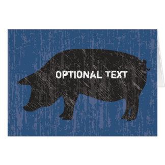 Rustic Black Pig Greeting Card