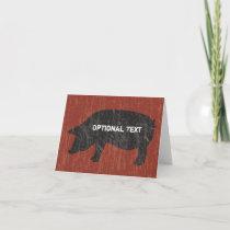 Rustic Black Pig Card