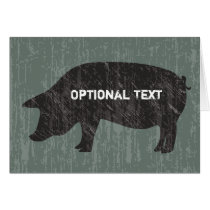 Rustic Black Pig Card