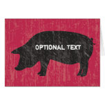Rustic Black Pig Stationery Note Card