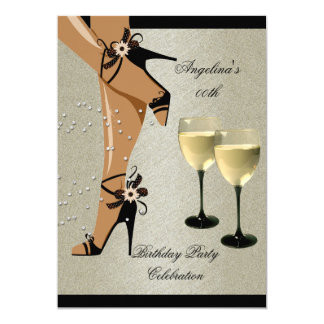 Rustic Black Shoes Wine Glass Birthday Party 5x7 Paper Invitation Card