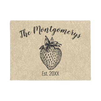 strawberry, personalized, doormat, door mat, custom,rustic, welcome, housewarming, gift