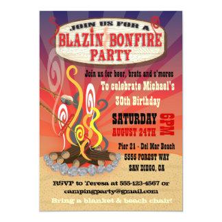 Rustic Blazin Bonfire Party Invitations