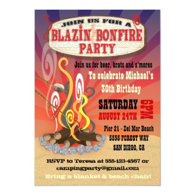 sand and fire bonfire beach wedding invitations zazzlecom - Bonfire Party Invitations