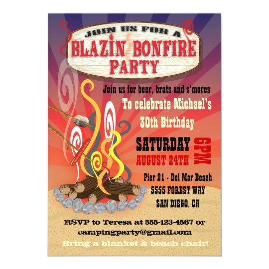 rustic blazin bonfire party invitations zazzle com