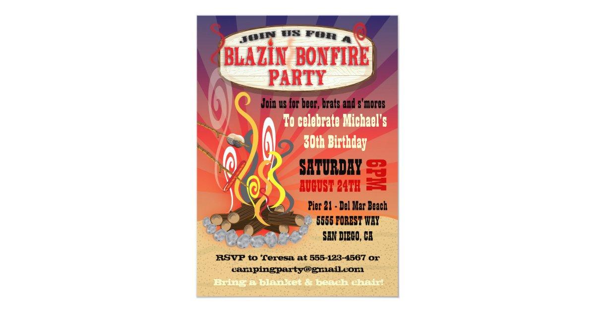 Rustic Blazin Bonfire Party Invitations | Zazzle.com