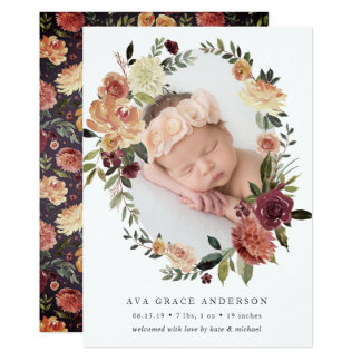 Rustic Bloom Birth Announcement