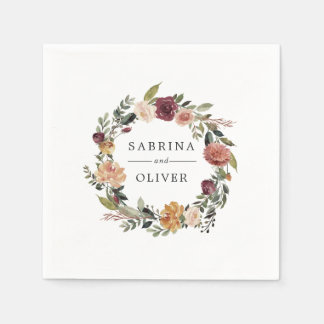 Rustic Bloom | Floral Wreath Personalized Wedding Paper Napkin