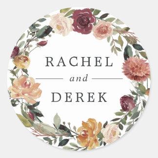 Rustic Bloom | Floral Wreath Wedding Classic Round Sticker
