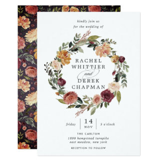 Rustic Bloom | Floral Wreath Wedding Invitation