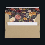 """Rustic Bloom Kraft Envelope<br><div class=""""desc"""">Rustic textured envelopes are printed with a brown kraft pattern and open to reveal an autumn floral pattern with watercolor roses,  mums and greenery. Personalize the back flap with your return address. Designed to coordinate with our Rustic Bloom wedding and event invitation collection.</div>"""