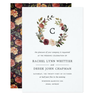 Rustic Bloom Monogram Wedding Invitation