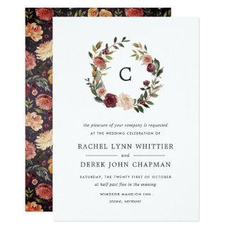 Rustic Bloom Monogram Wedding Invitation