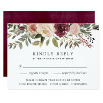 Rustic Bloom RSVP Card with Meal Choice