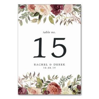 Rustic Bloom Table Number Card