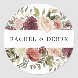 Rustic Bloom | Watercolor Floral Classic Round Sticker