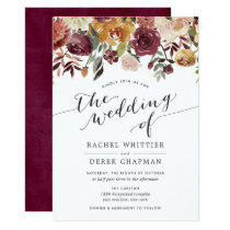 Rustic Bloom Watercolor Floral Wedding Invitation