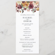 Rustic Bloom Wedding Ceremony Program
