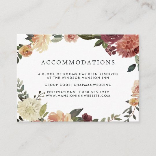 Rustic Bloom Wedding Hotel Accommodation Cards