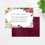 "Rustic Bloom | Wedding Hotel Accommodation Cards<br><div class=""desc"">Slip these chic, petite cards into your wedding invitations to let out of town guests know of any hotel arrangements or group codes. Designed to coordinate with our Rustic Bloom wedding collection, cards feature soft off-black lettering with a watercolor floral border in autumn shades of burgundy, blush, marsala and dark...</div>"