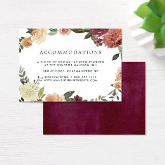 Rustic Bloom | Wedding Hotel Accommodation Cards