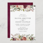 """Rustic Bloom Wedding Invitation<br><div class=""""desc"""">Elegant floral wedding invitations or fall or winter weddings feature your details accented by top and bottom borders of watercolor roses,  mums and greenery in rustic autumn colors including peach,  ivory,  blush,  burgundy and green. Cards reverse to a subtly mottled deep cabernet.</div>"""