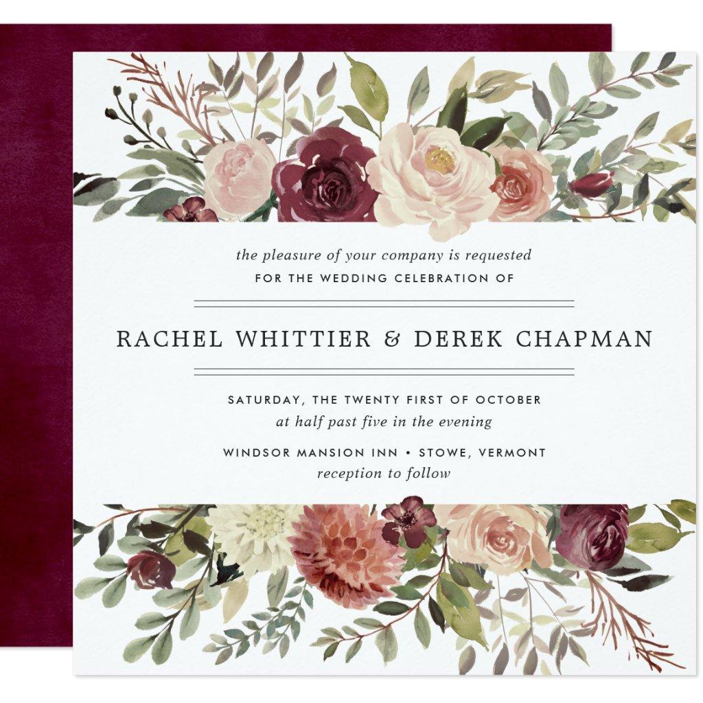 Rustic Bloom Wedding Invitation | Square