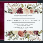 """Rustic Bloom Wedding Invitation   Square<br><div class=""""desc"""">Our Rustic Bloom wedding invitation in a unique square format frames your wedding details with a top and bottom border of painted watercolor flowers and foliage in lush autumnal shades of marsala,  burgundy,  blush and ivory. A rustic yet elegant choice for fall and winter weddings.</div>"""