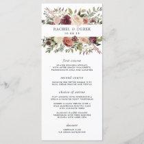 Rustic Bloom Wedding Menu Card