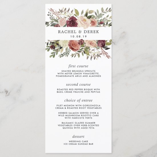 Rustic Bloom Wedding Menu Card