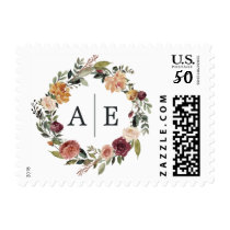 Rustic Bloom Wedding Monogram Postage