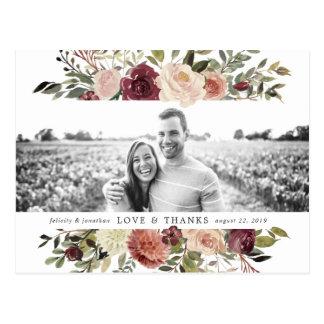 Rustic Bloom | Wedding Photo Thank You Postcard