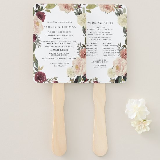 Rustic Bloom Wedding Program Hand Fan