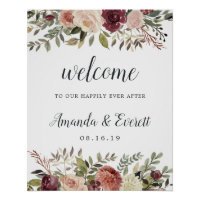 Rustic Bloom Wedding Welcome Poster