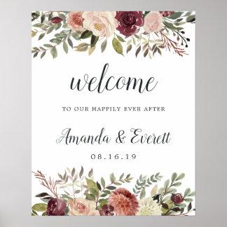 Rustic Bloom Wedding Welcome Poster