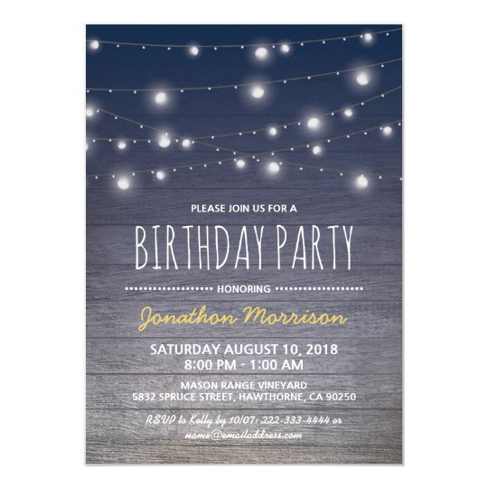 Rustic Blue Adult Mens Birthday Party Invitation
