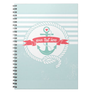 Rustic Blue Anchor Nautical Stripes Notebook