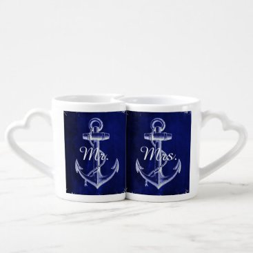 Beach Themed rustic Blue anchor nautical wedding mr and mrs Coffee Mug Set