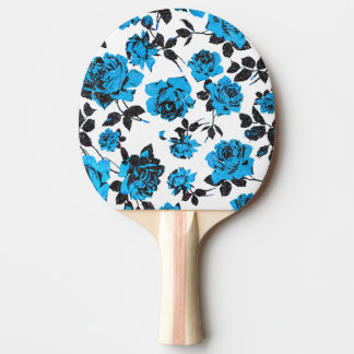 Rustic Blue and Black Stem Rose Pattern Ping Pong Paddle