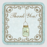 Rustic Blue and Brown Mason Jar Thank You Stickers