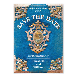 Rustic Blue and Gold Vintage Book Save The Date Card