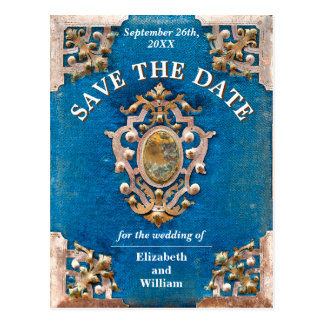 Rustic Blue and Gold Vintage Book Save The Date Postcard