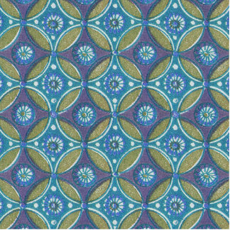 Rustic Blue and Green Designer Pattern Egyptian Cutout
