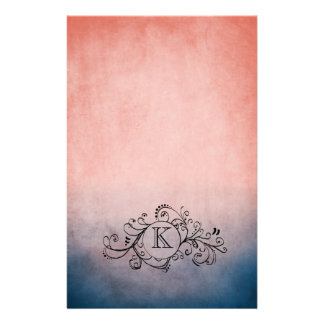 Rustic Blue and Pink Bohemian  Flourish Stationery