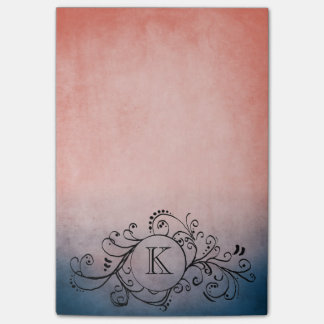 Rustic Blue and Pink Bohemian  Flourish Post-it® Notes